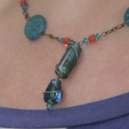 Glass Coins on Chain with Wrapped Glass Pendant